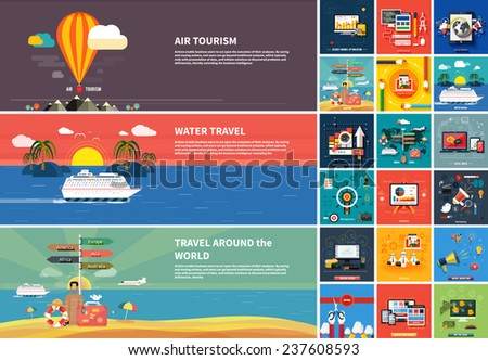 Icons for web design, seo, social media and pay per click internet advertising and icons set of traveling, planning a summer vacation in flat design - stock vector