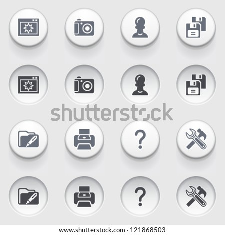 Icons for web on white buttons. Set 36. - stock vector