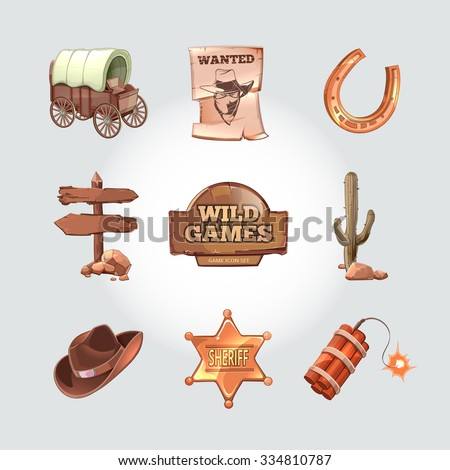 Icons for Wild West computer game. Cowboy objects cartoon design style. Western american art, police and dynamite, cactus and horseshoe. Vector illustration - stock vector