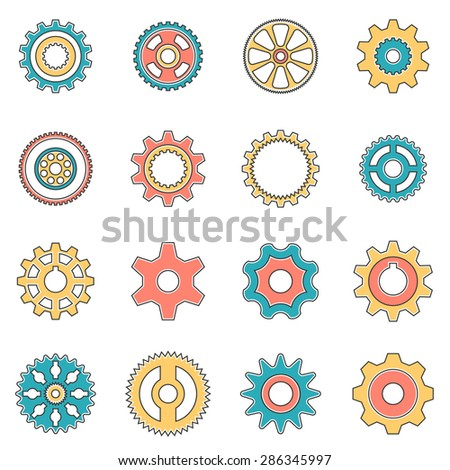 Icons gear wheel in style line art. Pinion for gear. - stock vector