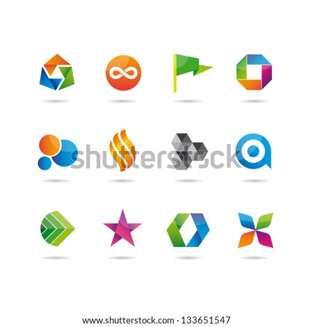 icons glossy set - stock vector