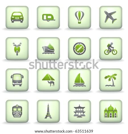 Icons green gray series 2 - stock vector