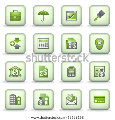Icons green gray series 9 - stock vector