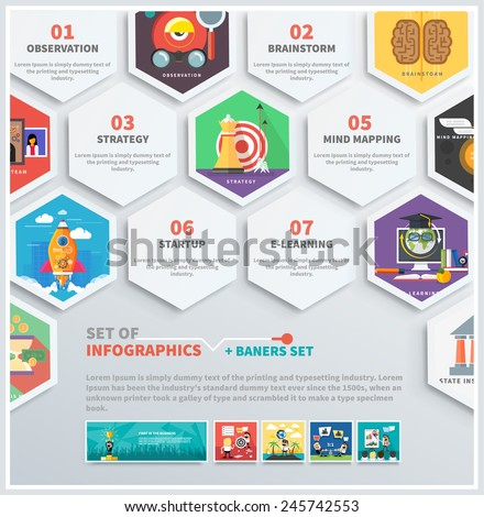 Icons infographic of headwork, strategy planning, business tools start up observation creative team mind mapping brainstorm e-learning time is money. Concept of different icons in flat design - stock vector