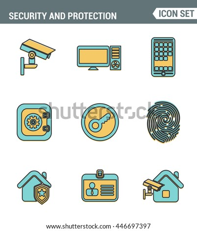 Icons Line set of premium quality various security objects, information and data protection system, safety access elements. Modern pictogram collection flat design style. Isolated on white background - stock vector