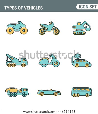 Icons line set premium quality of types vehicles traffic car transport auto icon . Modern pictogram collection flat design style symbol . Isolated white background - stock vector