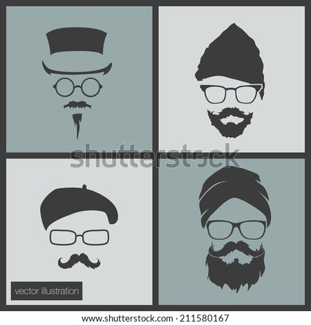 Icons man in a headdress - stock vector