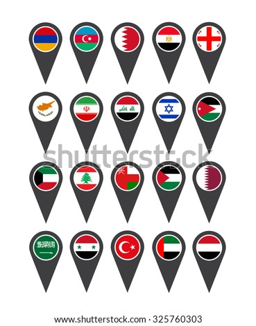 Icons Middle East flags on white background - stock vector