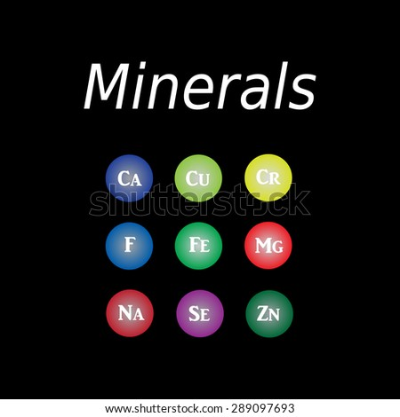 Icons minerals. Vector illustration on a black background. Minerals with bright color glossy balls for science articles, medicine and health magazines. - stock vector