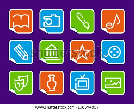 Icons of arts on stickers - stock vector