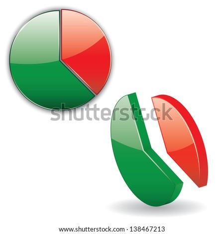 icons of circular chart. 3d. vector eps10 - stock vector