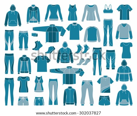 Icons of clothes for sports and workouts - stock vector