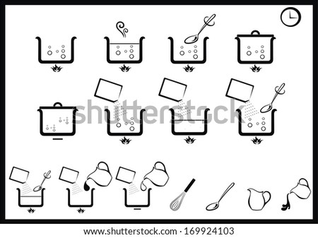 icons of cooking instruction - stock vector