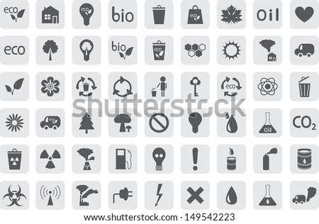icons of Ecology and pollution - stock vector