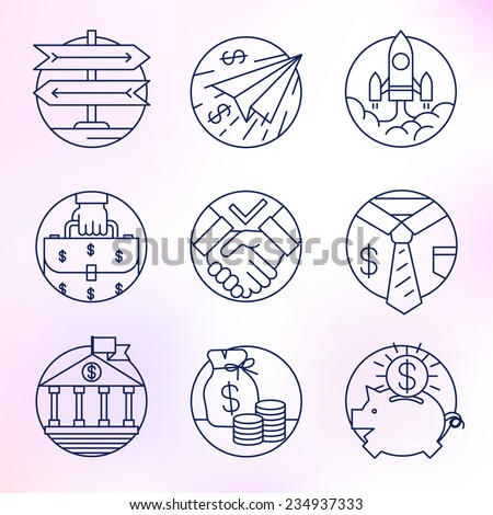 Icons of fine lines. Business and finance, investment, startup, deposits, money. - stock vector