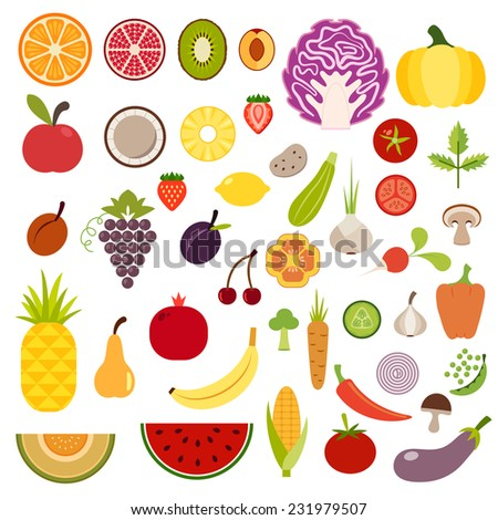 Icons of fruits and vegetables for menu - stock vector