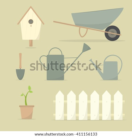 Icons of garden tools - stock vector