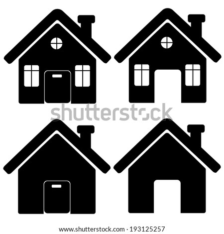 Icons of houses on a white background. vector - stock vector