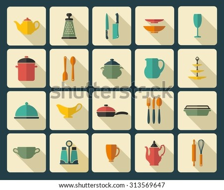 Icons of kitchen ware and utensils - stock vector