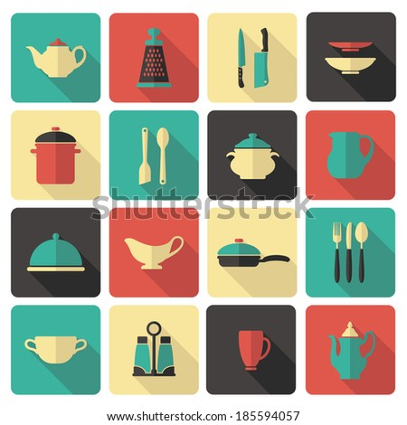 Icons of kitchenware and utensils - stock vector