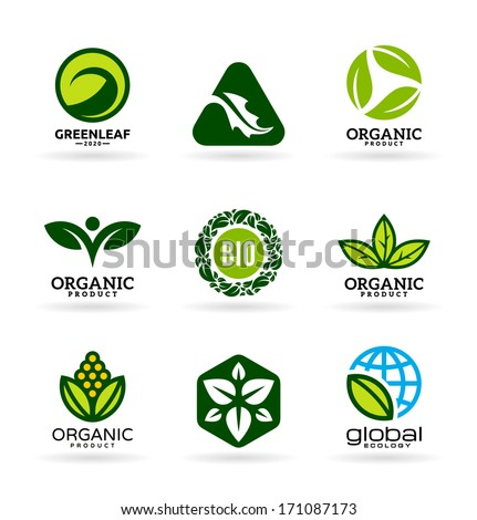 Icons of organic products and ecology. Eco icons (11) - stock vector