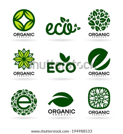 Icons of Organic Products and Ecology. Eco Icons (15) - stock vector