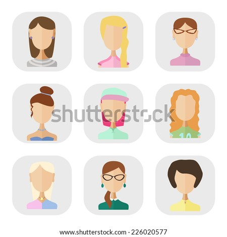 Icons of people in a flat style.Young girls different characters - stock vector