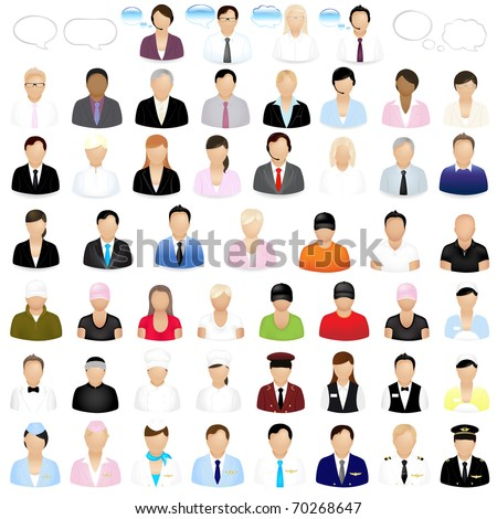 Icons Of People With Speech Bubbles, Isolated On White Background, Vector Illustration - stock vector