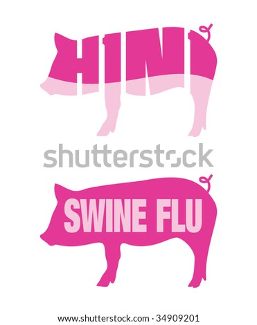 Icons of pigs for Swine flu and H1N1 outbreaks - stock vector