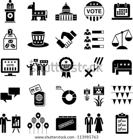 Icons of politics and American elections - stock vector