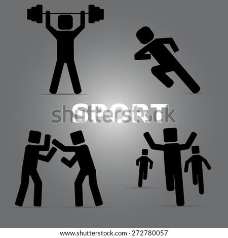 icons of the athletes practicing run boxing and weightlifting - stock vector