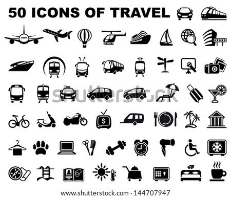 Icons of travel and trips - stock vector