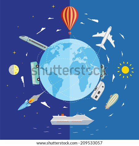 Icons of traveling, planning vacation, tourism and journey objects. - stock vector