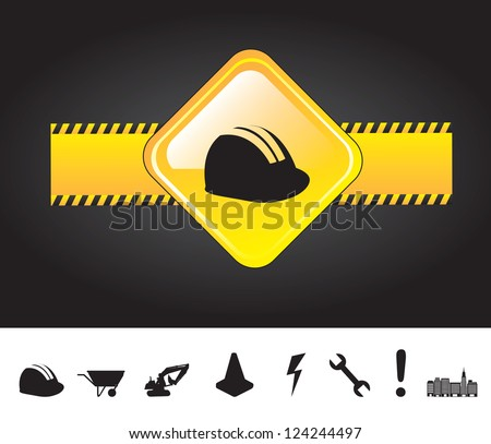 Icons of under construction over black background vector illustration - stock vector