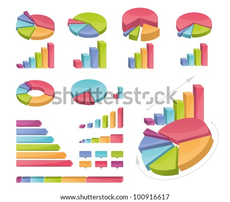 Icons of various charts and diagrams - stock vector