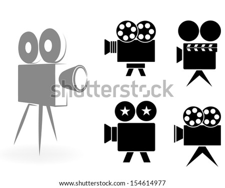 icons of video cameras - stock vector
