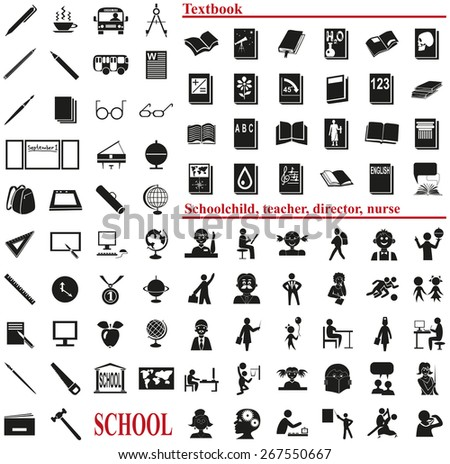 icons on a white background on the topic of school - stock vector