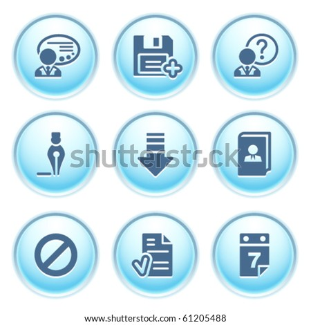 Icons on blue buttons 2 - stock vector