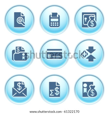 Icons on blue buttons 14 - stock vector