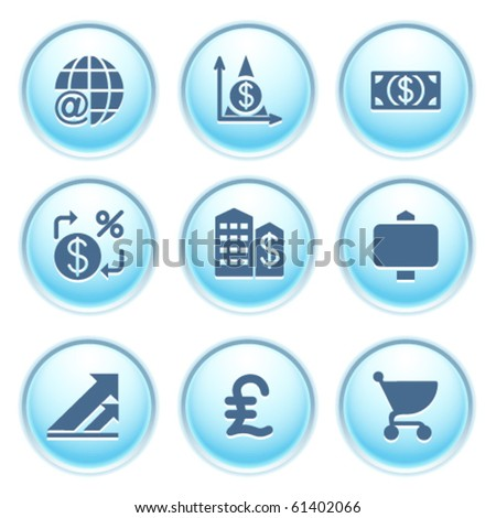 Icons on blue buttons 23 - stock vector