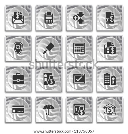 Icons on buttons with pattern, set 10. - stock vector