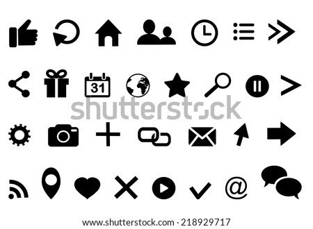Icons on facebook : clock arrow present calendar email geolocation cloud retweet bubble email rss photo  like profile home location favorite search cursor logo isolated on white - stock vector