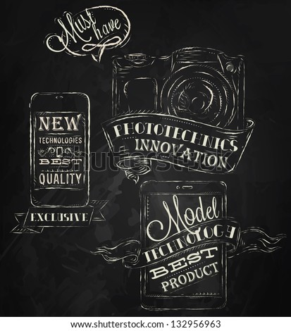 Icons on modern technology mobile tablet device camera in vintage style stylized under the chalk drawings - stock vector
