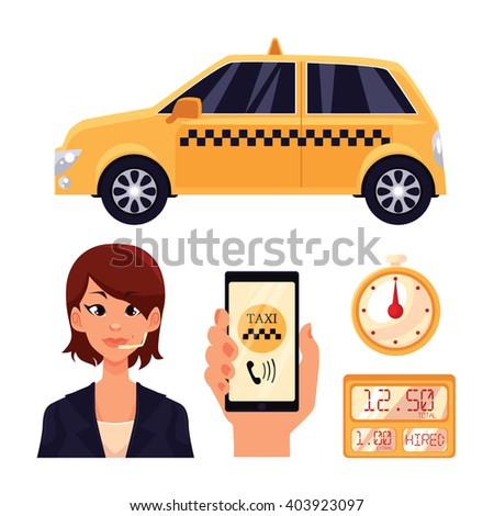 Icons on the transport of the city, a yellow taxi car with swords, girl dispetchet, vector objects isolated, hand holding a phone with the taxi app timer in a taxi cab, transportation of people in car - stock vector