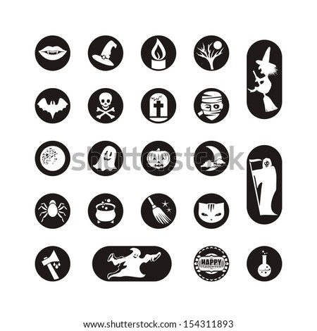 Icons or labels set with various Halloween symbols - stock vector