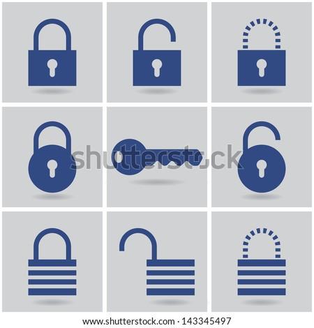 icons padlocks. vector set. eps10 - stock vector