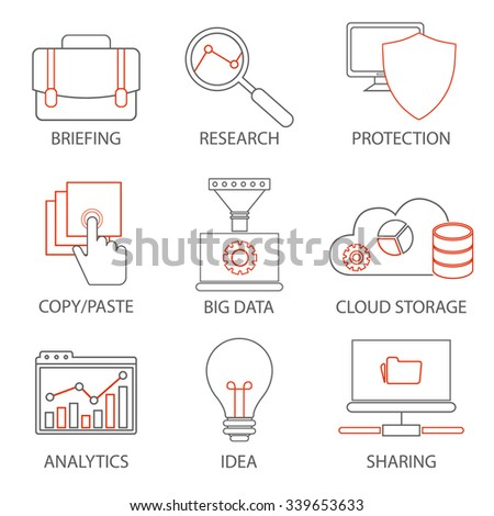 Icons related to business management, strategy, career progress and business process. Mono line pictograms and infographics design elements - stock vector