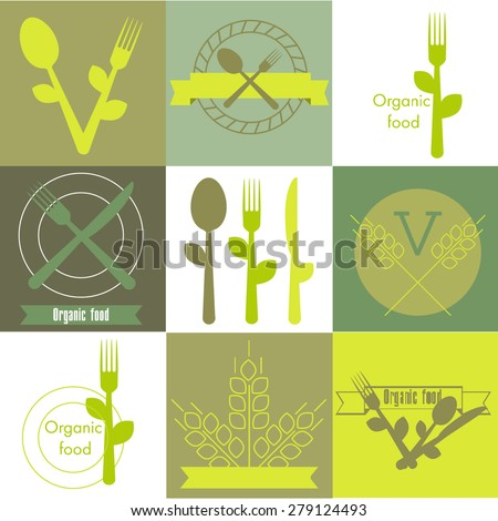 Icons representing healthy, organic and vegetarian food set - stock vector
