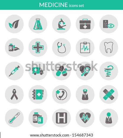 Icons set about medicine. Flat icons inside circles. - stock vector