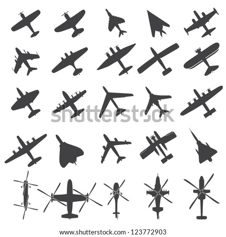 Icons set Airplanes - stock vector